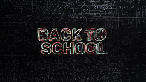 Back To School Text Animation With School Blackboard With Education Symbols Animation