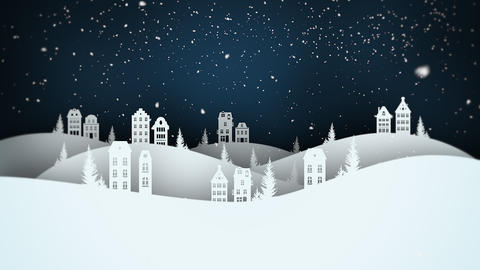 Animated close up night village and snowing landscape Animation