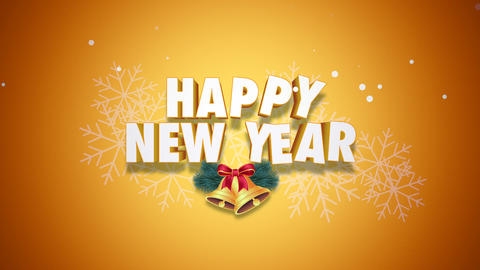 Animated closeup Happy New Year text and bells on yellow background Videos animados