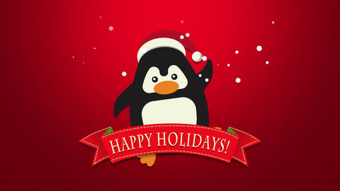Animated closeup Happy Holidays text, funny penguin waving on red background Videos animados