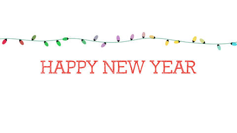 Animated closeup Happy New Year text, colorful garland on white background Videos animados