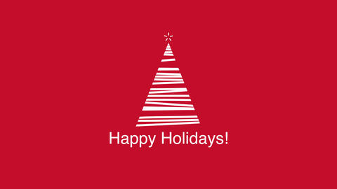 Animated closeup Happy Holidays text, white Christmas tree on red background Videos animados