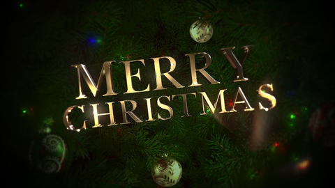 Animated closeup Merry Christmas text, colorful balls and green tree branches Animation