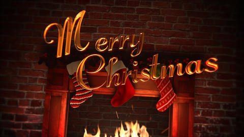 Animated closeup fireplace, gifts in the Christmas socks and Merry Christmas Animation