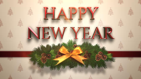 Animated closeup Happy New Year text, green Christmas branch on gift box Animation