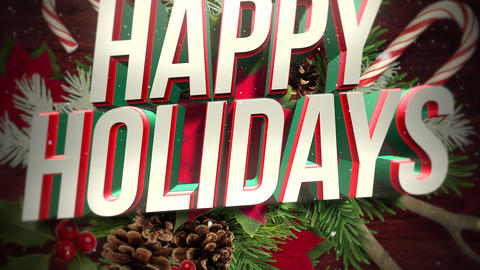 Animated close up Happy Holidays text and green Christmas branches Animation