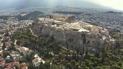 Aerial view of crowded Acropolis in Athens, the main city's landmark. Greece Live Action
