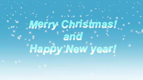 Merry Christmas and New Year greeting text background with falling snow flakes Animation