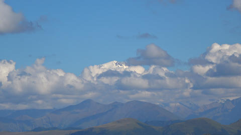 View mountain Elbrus scenes in national park Dombay, Caucasus, Russia, Europe Footage