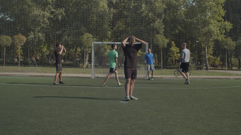 Footballer failing to score goal after penalty kick Live Action