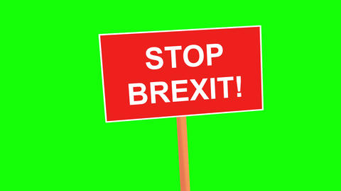 STOP BREXIT placard animated on green background. Brexit crisis concept. 4k Animation