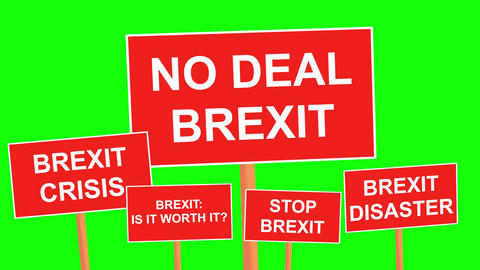 Multiple Brexit placards animated on looped green background. Simply replace the green screen with Animation