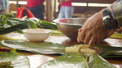 Leaf Wrapped Food Maito Preparation Ecuador Live Action