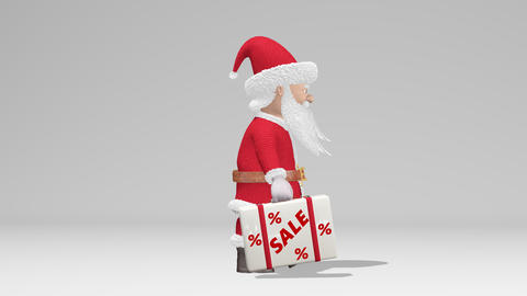 """Santa Claus carries a suitcase with the words """"Sale"""". Christmas sale concept Footage"""