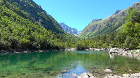 View lake scenes in mountains, national park Dombai, Caucasus, Russia, Europe Live Action