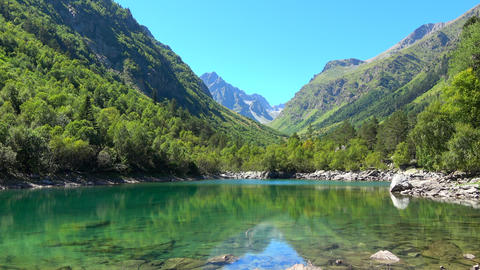 View lake scenes in mountains, national park Dombay, Caucasus, Russia, Europe Footage