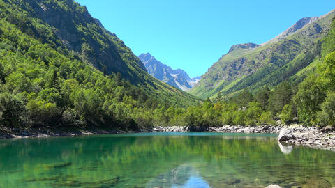 View lake scenes in mountains, national park Dombai, Caucasus, Russia, Europe Footage