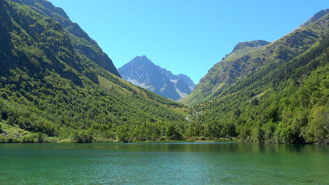 View lake scenes in mountains, national park Dombay, Caucasus, Russia, Europe Live Action