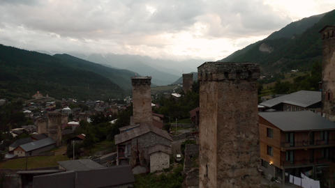 Mestia, Svaneti. Drone flying through the famous Svan towers at sunset Footage