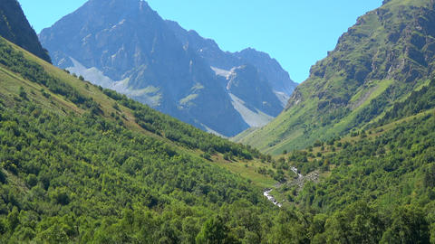 View scenes in mountains, national park Dombay, Caucasus, Russia, Europe Footage