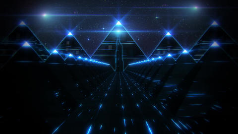 3D Blue Sci-Fi Pyramids Tunnel Loop Motion Background Animation