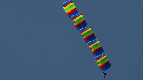 Paratrooper group aerobatics Live Action