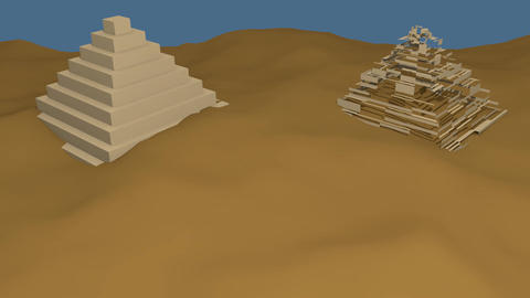 building pyramids in the sandy desert. 3d computer animation of building. Travel Animation