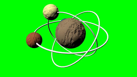3d textured planet model with three orbits and three satellite moons. Fantasy Animation