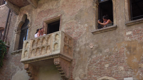 The famous balcony of Juliet in Verona from Romeo and Juliet Footage