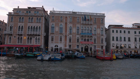 Old italian style mansions along the Grand Canal in Venice Footage