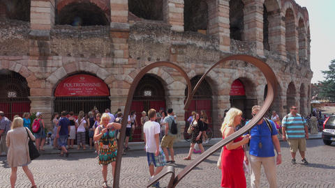 Verona sightseeing - World famous Arena of Verona Footage