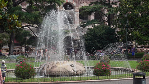 The fountain in front of the Arena di Verona Live Action