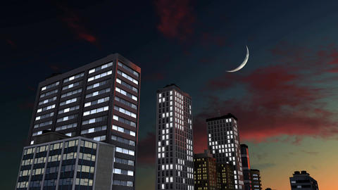 Abstract lighted skyscrapers against night sky with half moon Footage