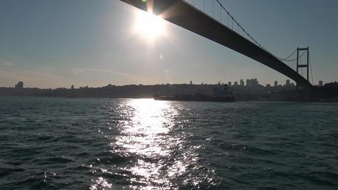Boat trip under the bridges of the Bosphorus. Istanbul. Turkey Footage