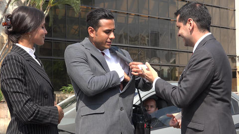 Business People Exchanging Business Cards Footage