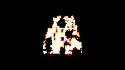 Symbol gopuram burns out of transparency, then burns again. Alpha channel Premultiplied - Matted Animation
