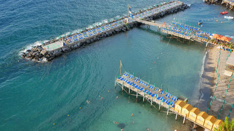 Scenic beach in Sorrento in summer before the sunset Live Action