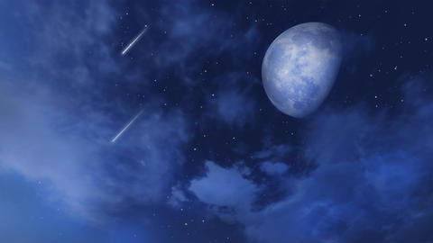 Big moon and shooting stars in night sky with clouds Animation