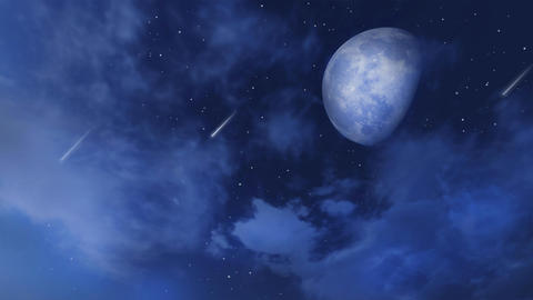 Big moon and shooting stars in night sky with clouds Stock Video Footage