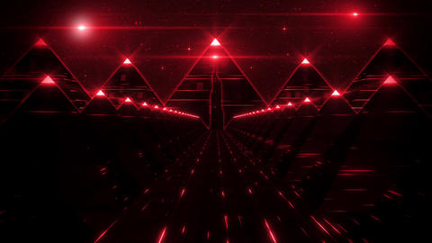 3D Red Sci-Fi Pyramids Tunnel Loop Motion Background Animation