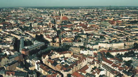 Munich, the capital and most populous city of Bavaria in Germany. Aerial Live Action