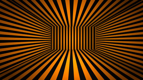 Abstract 3D room background with orange and black stripes. Seamless loop Animation