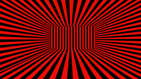 Abstract 3D background with black and red stripes. Seamless loop Animation