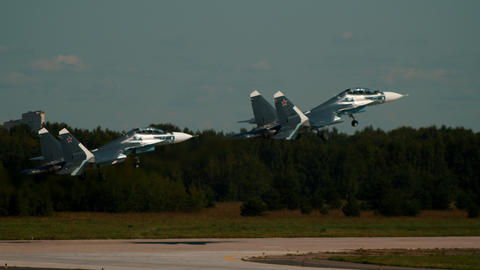 30 AUGUST 2019 MOSCOW, RUSSIA: dark blue military reactive jets gaining speed on Footage
