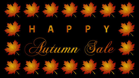 Autumn Sale Looping Video Animation with maple leaves Animation