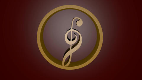 Golden treble clef, musical symbole in circle, 3d gold design, blurry bokeh Animation
