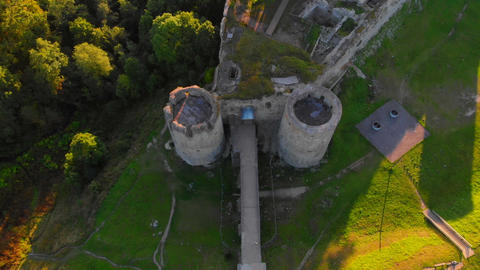 Shooting with a copter 4K video of an ancient fortress outside the city Footage