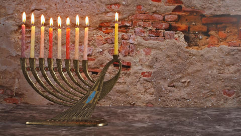 Hanukkah jewish holiday with menorah traditional Candelabra Footage
