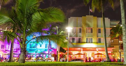 Miami Beach, Art Deco District, Florida, USA on Ocean Drive - Timelapse Footage