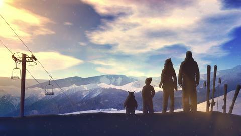 Family on a ski slope at sunset CG動画